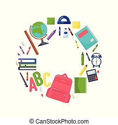 Vector colorful illustration of a school backpack, books, globe, crayons, notebook, pad, calculator, sticker sheet, pen, paper clips, glue, rulers and other school supplies on a white background.