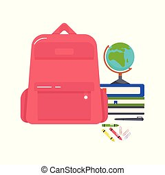 Vector colorful illustration of a school backpack, books, globe, crayons, pen and paper clips on a white background.