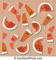 vector colorful illustration of watermelon slices