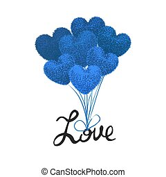 Vector colorful illustration of fluffy balloons in the shape of a heart