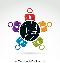 Vector colorful illustration of people sitting around a round network sign, management team. Global business branding conceptual icon. Connection idea.