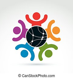 Vector colorful illustration of people standing around a round network sign, excited management team with hands up. Global business branding conceptual icon. Connection idea.