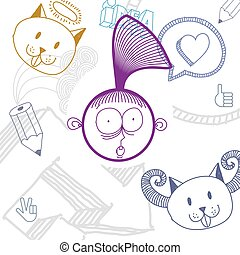 Vector colorful illustration of surprised cartoon girl isolated on special background with hand drawn design elements, social interaction idea. Facial expressions on woman face.