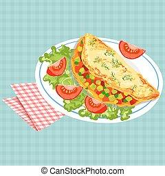 Vector colorful illustration of tasty breakfast