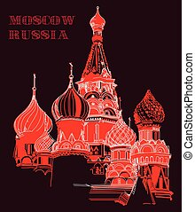 Vector colorful image with Saint Basil's Cathedral in Moscow