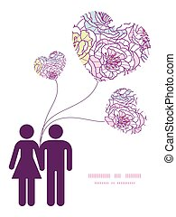 Vector colorful line art flowers couple in love silhouettes frame pattern invitation greeting card template