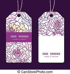 Vector colorful line art flowers vertical stripe frame pattern tags set