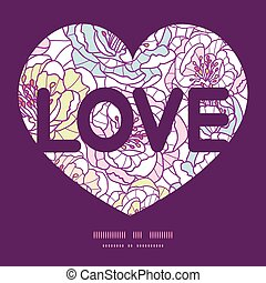 Vector colorful line art flowers love text frame pattern...