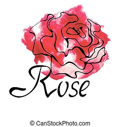 Vector colorful logo with watercolor rose
