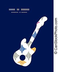 Vector colorful marble textured tiles guitar music silhouette pattern frame