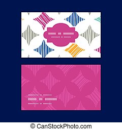 Vector colorful marble textured tiles horizontal frame pattern business cards set