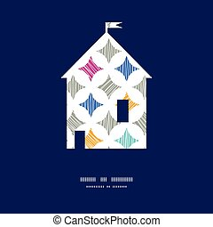 Vector colorful marble textured tiles house silhouette pattern frame