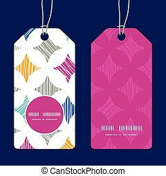 Vector colorful marble textured tiles vertical round frame pattern tags set