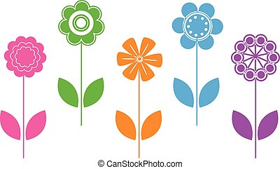 Vector colorful natural flower icons illustration