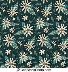Vector colorful natural seamless pattern with chamomile flowers