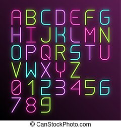 Vector colorful neon glow alphabet with numbers