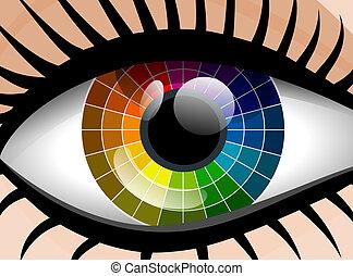 Vector colorful palette woman eye
