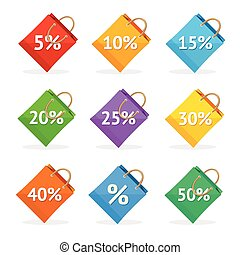Vector colorful paper bag sale icon set. Flat Design