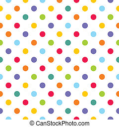 Seamless vector pattern or texture with colorful polka dots on white background for kids background, blog, web design, scrapbooks, party or baby shower invitations and wedding cards.