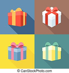 Vector colorful present box icons