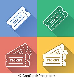 Vector Colorful Raffle Ticket Icon Set - Full Vector...