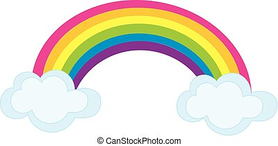 Vector Colorful Rainbow with Clouds.  Rainbow Vector Illustration.