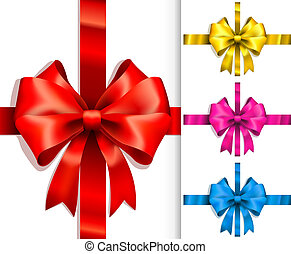 Vector Colorful ribbons and bows Isolated on white