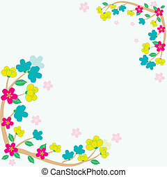 vector colorful sakura frame card