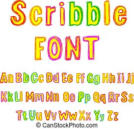 Vector Colorful Scribble Font, Isolated on White Background Type Set, Hand Drawn Alphabet.
