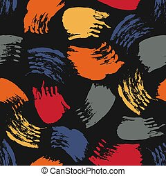 Vector colorful seamless pattern with brush strokes and dots. Red blue grey orange color on black background. Hand painted grange texture. Ink geometric elements. Fashion modern style. Unusual