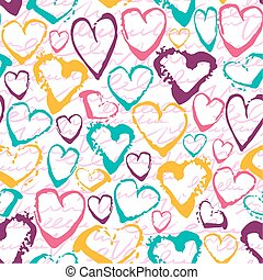 Vector colorful seamless pattern with brush strokes hearts....