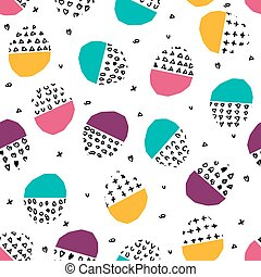 Vector colorful seamless pattern with brush dots, strokes,...