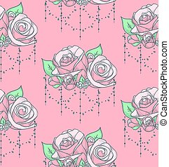 Vector Colorful Seamless Pattern with Roses with Beads