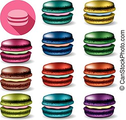 vector colorful set of macarons