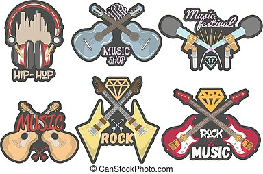 Vector colorful set of music theme emblems. Isolated badges, logos, banners or stickers with guitars, microphones and headphones in vintage style