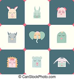 Vector colorful set of nine cute animals heads.