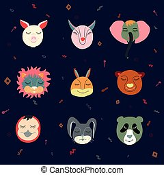 Vector colorful set of nine funny animals heads.