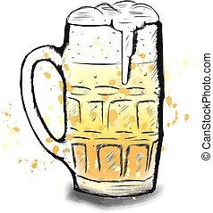 Vector colorful sketch of beer cup