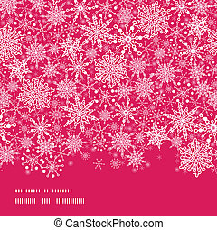 vector Colorful Snowflake Texture Horizontal Border Seamless Pattern Background with drawn snowflakes on light blue background.