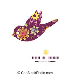 Vector colorful stars bird silhouette pattern frame