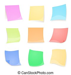 Vector colorful stick note isolated on white background