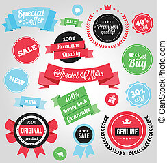Vector Colorful Stickers Labels and