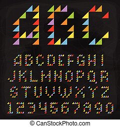 Vector Colorful Triangle Font