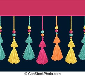 Vector Colorful Trim Decorative Tassels, Beads, And Ropes Horizontal Seamless Repeat Border Pattern. Great for handmade cards, invitations, wallpaper, packaging, nursery designs.