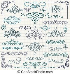 Vector Colorful Vintage Hand Drawn Swirls Collection