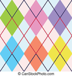 vector, colorido, argyle, patrón