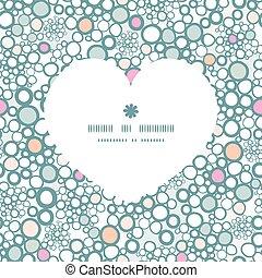 vector, colorido, burbujas, corazón, silueta, patrón, marco