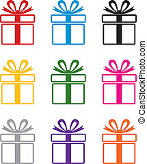 vector, colorido, caja obsequio, símbolos