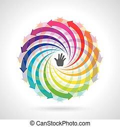 vector, colorido, ciclo vital
