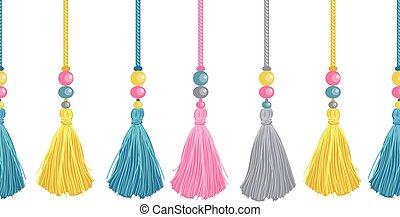 vector, colorido, decorativo, borlas, cuentas, y, sogas,...